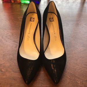 Anne Klein iFlex Black Textured Shiny Heels Shoes